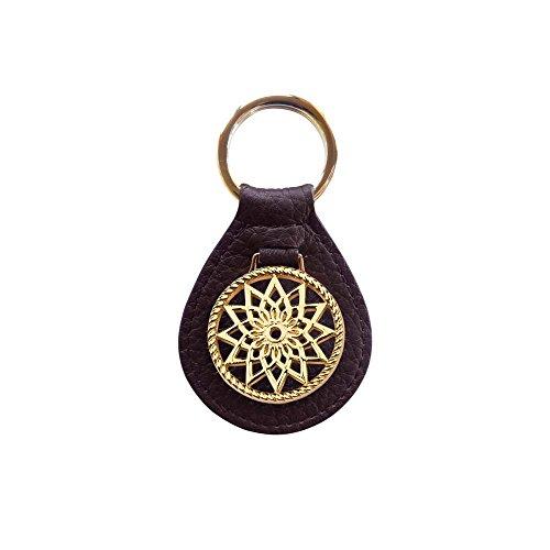 Traumfänger Schlüsselanhänger Braun Blume Gold