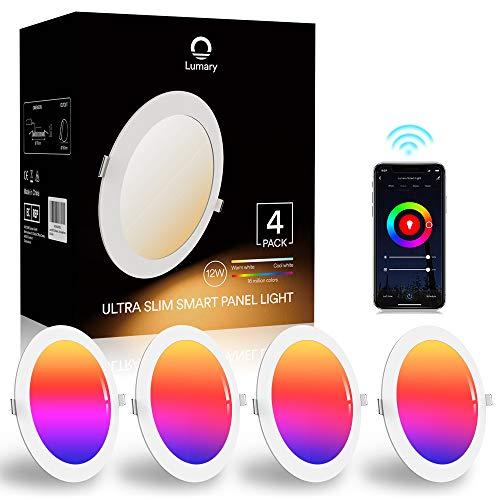 Lumary 12W LED Einbaustrahler LED Deckenstrahler Deckenspots Deckenleuchte, 16 Millionen Farben Dimmbar Weiß(2700K-6000K) LED Einbauleuchte Einbauspots Kompatibel mit Alexa, Echo,Google Home, 4 Stück