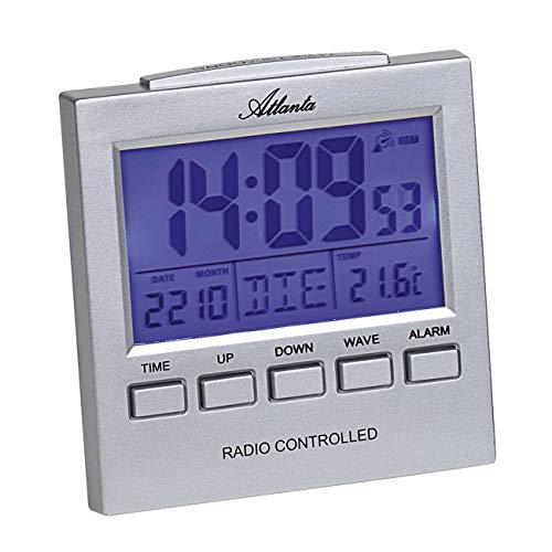 Atlanta Funkwecker Digital große LCD-Anzeige Licht Temperatur Datum Silber - 1890/19