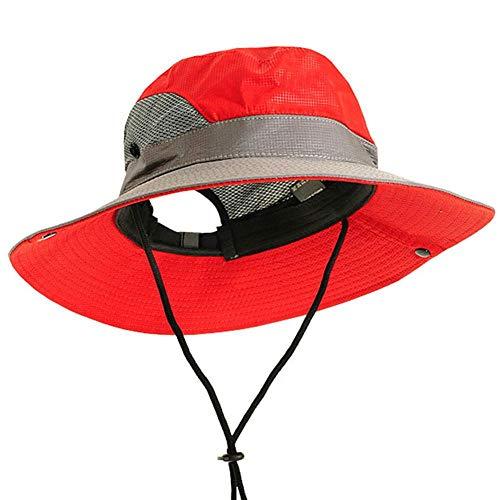 Bucket Hat Chapeau Camping Décontracté Activités De Plein Air Hommes Femmes Escalade Respirant Pêche Polyester Casquette Seau Chapeau Réglable Maille Voyage Rouge