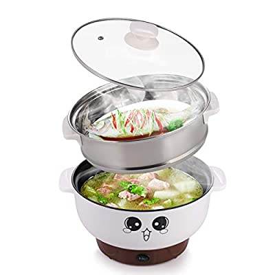 MINGPINHUIUS 4-in-1 Multifunction Electric Cooker Skillet Wok Electric Hot Pot For Cook Rice Fried Noodles Stew Soup Steamed Fish Boiled Egg Small Non-stick with Lid (2.8L, with Steamer)