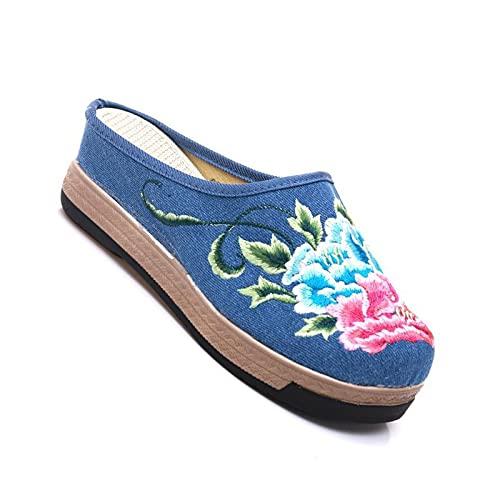 HAQMG Zapatos planos negros para mujer, cuña de verano, estilo étnico, diseño de bordado, zapatillas para mujer, para interiores, exteriores, cómodas, sandalias para mujer (color azul, tamaño: 37 UE)