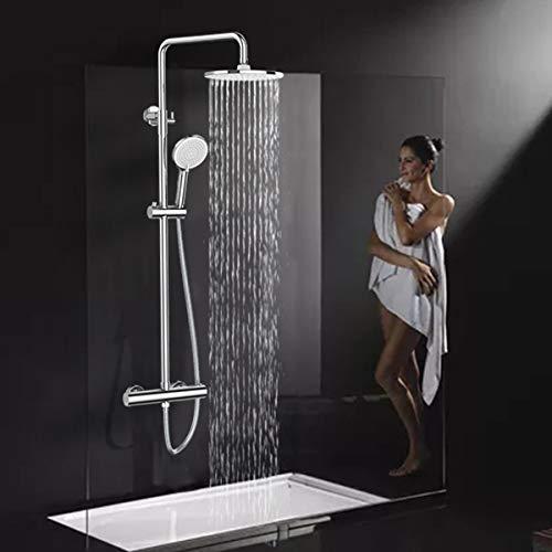 Rainsworth 9 Inch Regendusche Duschsystem, Hochdruck Duschkopf, Thermostat Duscharmatur mit Höhenverstellbarer Duschstange