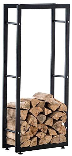 CLP Kaminholzständer Keri V2 I Aus Schwarzem Metall I Kaminholzregal Mit Bodenschonern I Stapelhilfe Für Brennholz, Farbe:schwarz, Größe:25x40x125 cm
