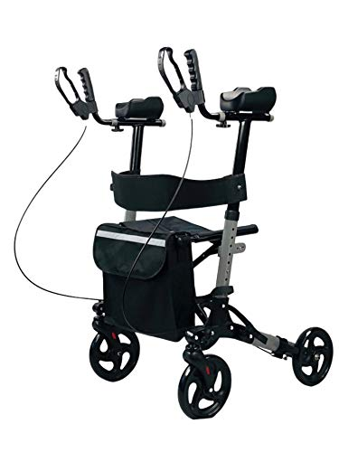 Silenflow Upright Walker - Stand Up Folding Rollator Walker with Padded Armrests Backrest Seat for Seniors and Adults