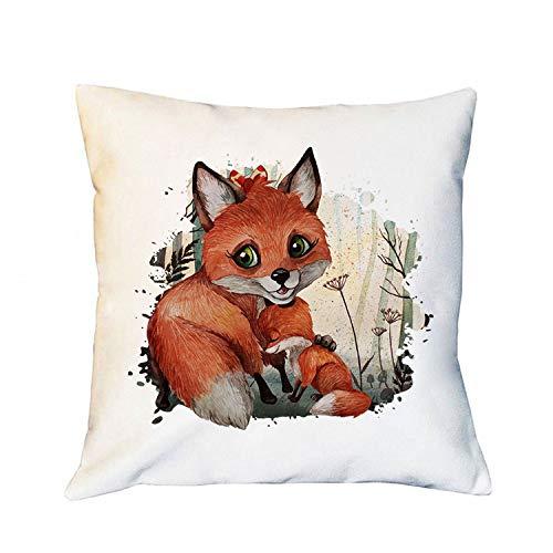 ilka parey wandtattoo-welt Kissen mit Fuchs Fuchsmama mit Junges im Wald inklusive Füllung Dekokissen Zierkissen Bedruckt ks260