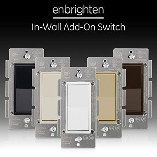 GE, White & Light Almond, Enbrighten Add Z-Wave Zigbee Smart Lighting Controls, Works with Alexa, Google Assistant, SmartThings, NOT A STANDALONE SWITCH, 12723