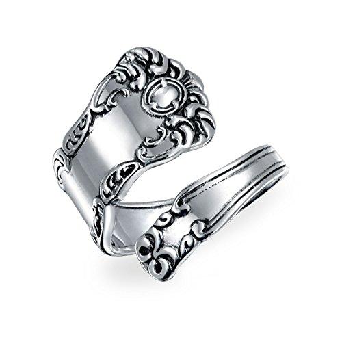 Boho Wickelring Löffel Ringe Für Damen Für Herren Oxidiert 925 Sterling Silber Verstellbar