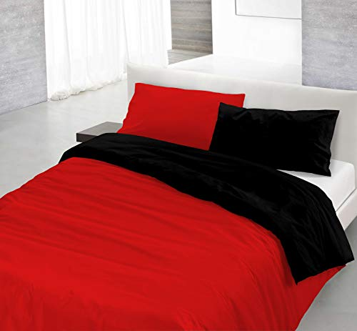 Italian Bed Linen Natural Doble Color y Funda de Almohada, 100% Algodn, Rojo/Negro, sngolo