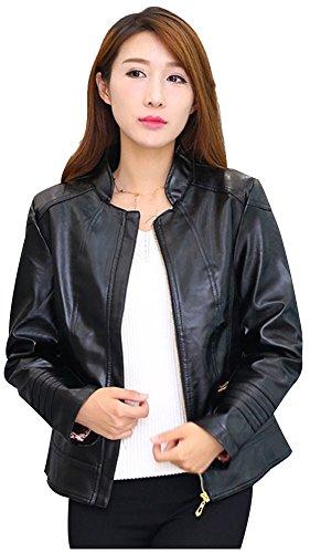 wanture Women's PU Leather Jacket Plus Size Classical Solid Coat Stand Collar Zipper Closure Black 2XL