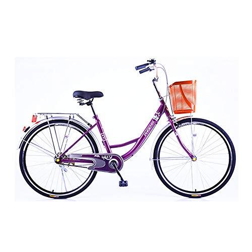 ZJDU Erwachsenes Männliches Und Weibliches Fahrrad,Bequemes Pendlerfahrrad,Rahmen Aus Kohlenstoffhaltigem Stahl,Vorderkorb & Gepäckträger,Single Speed Beach Cruiser Fahrrad,Rose red,24 inch