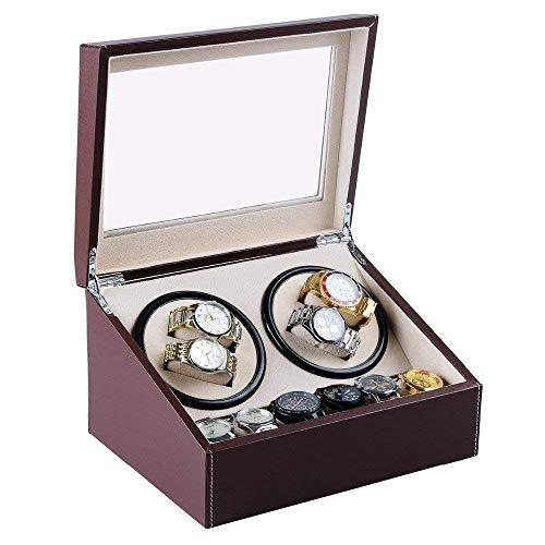 JHSHENGSHI Uhrenbeweger, 4 + 6 hölzerner Uhrenbeweger mit hochglänzender Klavierfarbe, automatische Uhrenbewegerbox Aufbewahrung des Uhrengehäuses