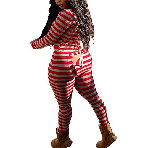 Faretumiya Women's Sexy Butt Flap Pajamas Onesie V Neck Long Sleeve One Piece Bodycon Bodysuit Jumpsuit Romper Clubwear
