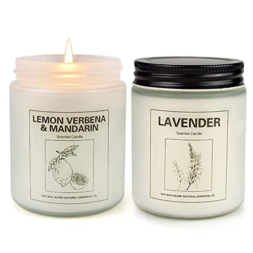 Lemon Verbena and Lavender Candles for Home Scented, Aromatherapy Candle 2 pcs, Soy Wax Candle Set, Women Mother's Day Gift with Strongly Fragrance Jar Candles