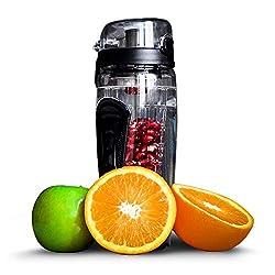 fruiti-n'fuser drinking bottle | Water bottle with fruit insert Sports drinking bottle 1L | Sports bottle made of Tritan (BPA free) | Drinking bowl in black