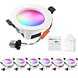 Smart Recessed Downlight Kit, INDARUN WiFi & Bluetooth RGBWC Color Changing 5W 3 Inch Dimmable 350LM 2700K-6500K Daylight Ceiling Lights with Smart Bridge & Touch Panel for Home Decoration - 6 Pack