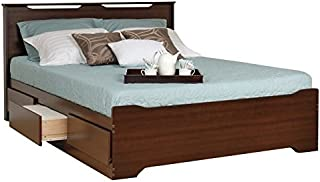 Prepac Coal Harbor Queen Platform Storage Bed with Headboard in Espresso