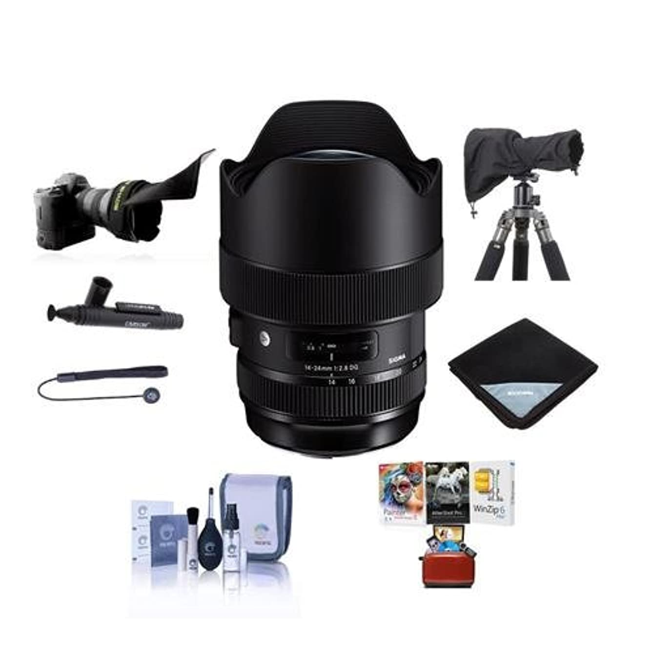 Sigma 14-24mm f/2.8 DG HSM Art Wide-Angle Zoom Lens for Nikon DSLR Cameras - Bundle with Lens Wrap, LensCoat Raincoat Rain Sleeve Black, Cleaning Kit, Flex Lens Shade, Mac Software Package, and More