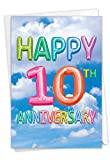 The Best Card Company - 1 Happy Anniversary Card with Envelope - Celebrate 10 Years of Marriage, Wedding Anniversary Greeting (Not 3D or Raised) - Inflated Messages 10 C5651CMAG