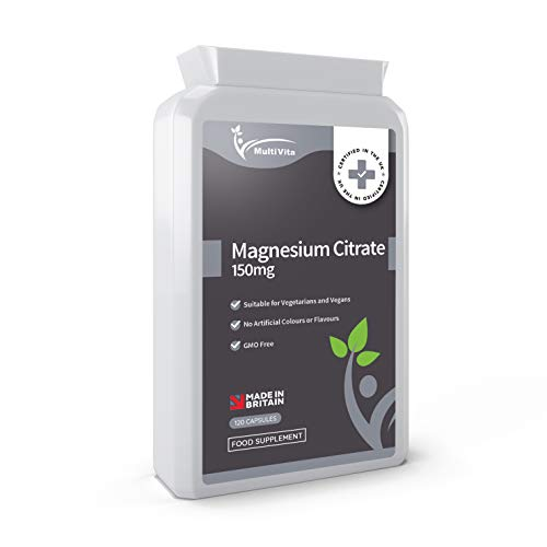 Magnesium Citrate 500mg 120 Capsules - Providing 150mg of Active Elemental Magnesium - High Strength - Easily Absorbable & Highly Bioavailable - UK Manufactured to GMP Standards