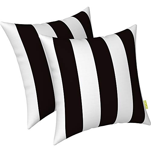 "LVTXIII Indoor Outdoor Pillow Covers, All Weather Patio Accent Square Toss Pillow Cushion Case 17"" x 17"" Pack of 2 for Sofa Couch Patio Furniture Decoration – Cabana Black"