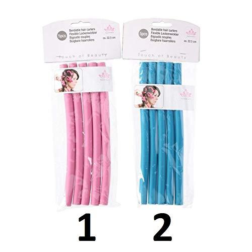 Les Colis Noirs LCN - Lot de 50 Bigoudis Mousse Flexible 22,5cm - Mod1 Rose - Bigoudi Coiffure Cheveux - 090