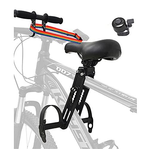 Kids Bike Seat with Handlebar Attachment, Detachable Front Mounted Child Bicycle Seats with Foot Pedals for Children 2~5 Years(up to 48 Pound), Compatible with All Adult Mountain Bikes.