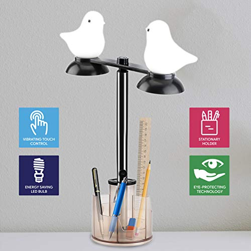 GZLEERLE Smart Touch Control Table Lamp, Eye Caring LED Desk Lamp with Pen Holder, Touch Sensor Bedside Lamps for Bedrooms, Bird Shape Lamp for Kids (Brown)
