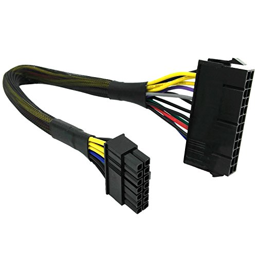 COMeap 24 Pin to 14 Pin ATX PSU Main Power Adapter Braided Sleeved Cable for IBM Lenovo PCs and Servers 12-inch(30cm) (Long Type)