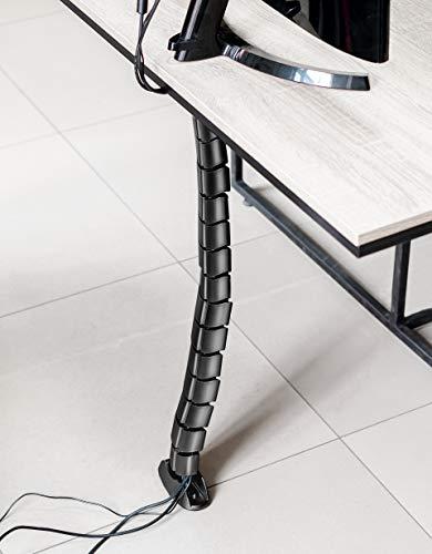 Canalina per cavi verticale Hicab da applicare sotto la scrivania, nero con peso a terra. La canalina per cavi va applicata sulla parte inferiore del piano del tavolo. L'altezza è regolabile.