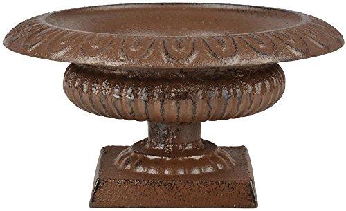 Esschert Design Französische Vase, 20 x 20 x 10 cm, aus Gusseisen, niedrig, Größe S, Blumenvase, Pflanzenvase, Stabiler Stand, Gartendekoration