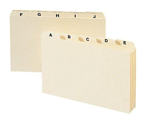 "Smead Card Guide, Plain 1/5-Cut Tab (A-Z), 8""W x 5""H, Manila, 25 per Set (57076)"