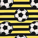 SCHÖNER LEBEN. Baumwollstoff Popeline Streifen Fußball