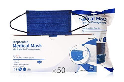 SUMGER Mascarilla Quirúrgica Desechable Homologada, 50 Unidades, Color Azul Marino, CE BFE ≥98%, EN 14683:2019+AC:2019 Type IIR