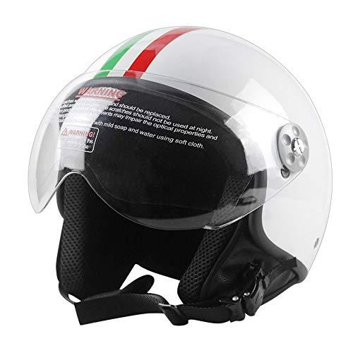 Woljay Motorrad Helme Vintage Halbhelme Motorrad Biker Cruiser Roller Tourenhelm (L, Weiß)