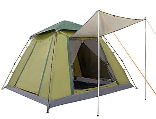 Ubon-4-Person-Lightweight-Camping-Tent-Easy-Setup-Large-Cabin-Tent-Waterproof-and-Sun-Protect-Instant-Tent-with-Sun-Shade-for-Outdoor-Hiking-Four-Large-Mesh-Windows-for-Optimized-Ventilation
