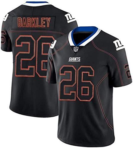PUCQ Saquon Barkley 26# American Football Trikot New York Giants #26 Herren Rugby Trikot Feuchtigkeitsableitendes Komforttraining KurzarmOberteil-Black-XX-Large