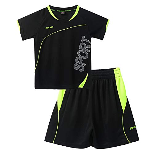 iiniim Kinder Mädchen Jungen Sport-Set 2tlg. Schnelltrockend T-Shirt + Shorts Trainingsanzug für Yoga Jogging Training Schwarz Set 158-164
