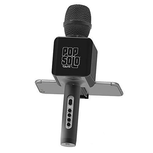 Tzumi PopSolo Rechargeable Wireless Bluetooth Microphone Speaker Retractable Smartphone Holder for Most Karaoke-Apps (Black)