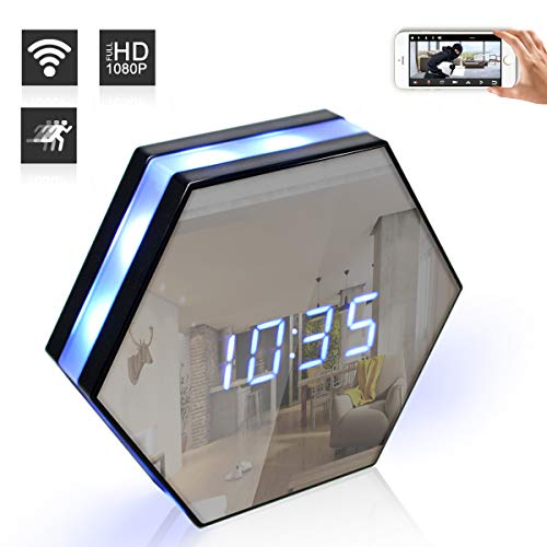 Seahon Hidden Spy Camera Clock,WiFi Surveillance Cameras with 160°Angle/6 Hours Recording/128G External Capacity/HD 1080P/Night Vision/Remote View/Motion Detection for Home Security Nanny Cam