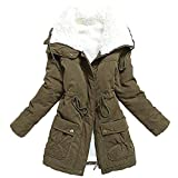 MEWOW Women's Winter Mid Length Thick Warm Faux Lamb Wool Lined Jacket Coat (XL,...
