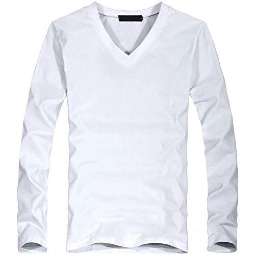 Maglietta con scollo a V, da uomo, a maniche lunghe, in cotone, da uomo, taglia asiatica V White XXL