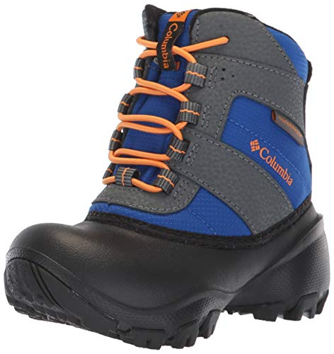 Columbia Girls Rope Tow III Waterproof Boot Snow, Azul/Orange Blast, 3 Big Kid