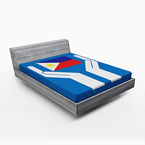 Ambesonne Filipino Fitted Sheet, Two Hands Holding Showing Philippines National Flag Independant Country Concept, Soft Decorative Fabric Bedding All-Round Elastic Pocket, Queen Size, Multicolor