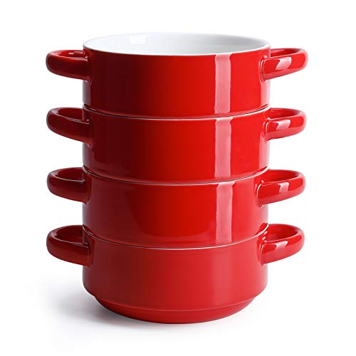Sweese 108.104 Porcelain Bowls with Handles - 20 Ounce for Soup, Cereal, Stew, Chill, Set of 4, Red