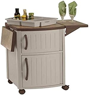 Suncast Outdoor Grilling Prep Station - Portable Outdoor BBQ Entertainment Storage Table Prep Station - Store Grilling Accessories, Condiments - Taupe and Brown