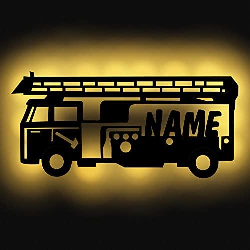 Personalisiertes Nachtlicht Wand-Lampe Holz Feuerwehr-auto mit Namen ideal als Geschenk für Feuerwehrmänner Jungs Mädchen Männer