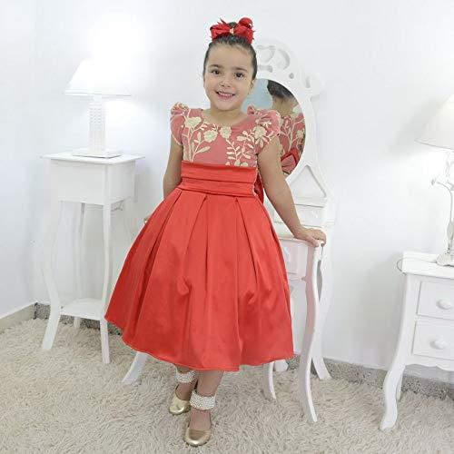vestido infantil vermelho com tule francês