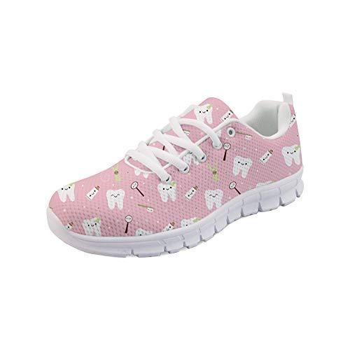 POLERO Mesh Breathable Sportschuhe für Damen Cute Dental Sport Sneakers Rosa Lauftrainer für Teenager Mädchen, Größe 37