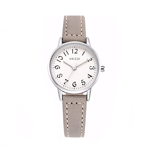 Damenuhren Casual Arabische Ziffern Armbanduhren für Damen Lederarmband, Grau